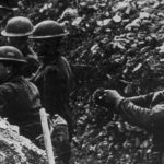 WWI soldiers in a trench